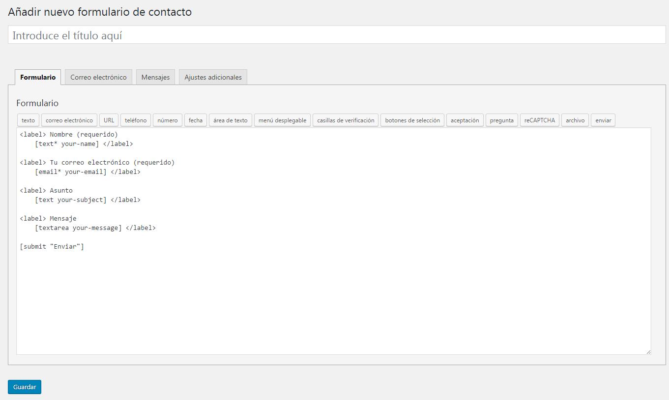 Cómo crear un formulario dentro de un post o entrada de blog en WordPress